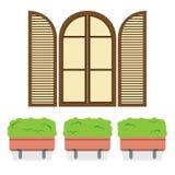 Öffnen Sie Weinlese-Bogen-Fenster mit Blumentöpfen unten Stockbild