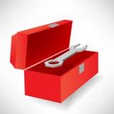 Öffnen Sie Werkzeugkasten und Schraubendreher Stockfoto