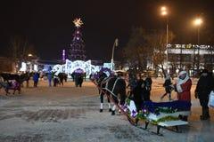 Öffnung des Weihnachtsbaums in der Mitte von Tyumen Stockbilder