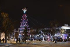 Öffnung des Weihnachtsbaums in der Mitte von Tyumen Stockfoto
