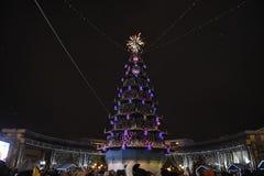 Öffnung des Weihnachtsbaums in der Mitte von Tyumen Lizenzfreies Stockbild
