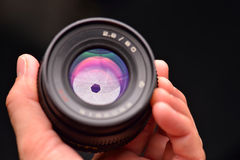 Öffnungsblätter eines Weinlese slr Kameraobjektivs Lizenzfreie Stockfotos