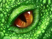 Öga av en grön drake stock illustrationer