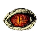 Öga av en krokodil stock illustrationer