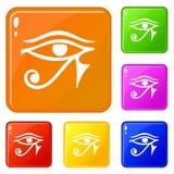 Öga av färg för vektor för Horus Egypten gudsymboler fastställd vektor illustrationer