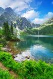 Öga av hav sjön i Tatra berg Arkivfoto