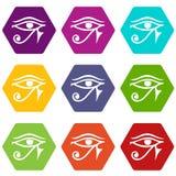 Öga av hexahedron för färg för uppsättning för Horus Egypten gudsymbol stock illustrationer
