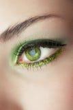 Öga av kvinnan med grönt smink Royaltyfri Fotografi