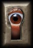 Öga i keyhole Royaltyfri Bild