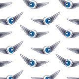 Öga med vingmodellen vektor illustrationer