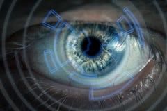 Öga som beskådar digital information Royaltyfri Foto