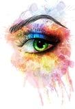 Öga som göras av färgrika färgstänk vektor illustrationer