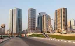 Ögat av emiratferrisna rullar in Sharjah Arkivfoto