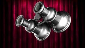Öglan roterar retro binokulärt på gardinetappen arkivfilmer