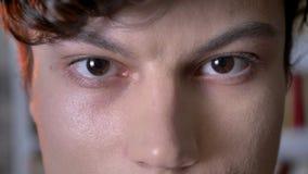 Ögon av den allvarliga brunettmannen håller ögonen på på kameran, suddig bakgrund stock video