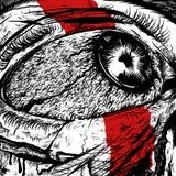 Ögon av den smärtsamma ilskadesignen arkivfoton