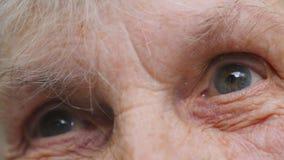 Ögon av en äldre dam med skrynklor runt om dem Gammal kvinna som ser in i avståndet Nära övre stående av ledset stock video