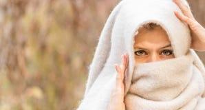 Ögon av en kvinna i en head halsduk arkivfoto