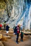 Ögon av guden, Prohodna grotta, Bulgarien arkivbild