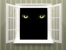 Ögon av monstret i öppet fönster royaltyfria bilder
