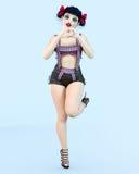 ögon för docka för flicka 3D stora blåa och ljus makeup stock illustrationer