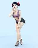 ögon för docka för flicka 3D stora blåa och ljus makeup vektor illustrationer