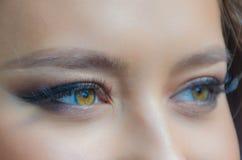 Ögon för flicka` s och makeupnärbild royaltyfri fotografi