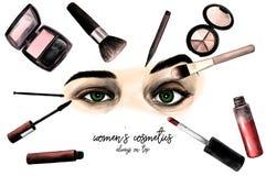 Ögon för kvinna` som s omges av skönhetsmedel och makeupborstesammansättning med inskriften många ögon med olika sinnesrörelser Arkivbild