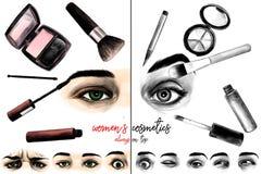 Ögon för kvinna` som s omges av skönhetsmedel och makeupborstesammansättning med inskriften många ögon med olika sinnesrörelser Arkivfoto