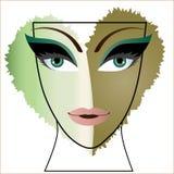 Ögon för kvinnaframsidahjärta arkivfoto