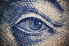 Ögon för skott för closeup för pengarsedelmakro av det kontanta utbytet Ukraina för berömt folkvärde Arkivfoton