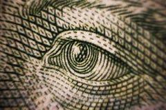 Ögon för skott för closeup för pengarsedelmakro av det kontanta utbytet Ukraina för berömt folkvärde Royaltyfri Foto