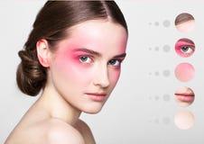 Ögon för ståendekvinnarosa färger med hud särar i cirkel arkivfoton
