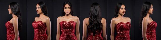 Ögon för svart hår för hud för asiatisk kvinna för mode solbrända royaltyfria foton