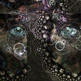 Ögon i Fractalbakgrund arkivbilder