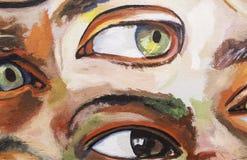 Ögon målade väggen royaltyfria foton