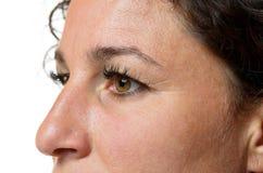 Ögon och näsa av en attraktiv kvinna royaltyfri foto
