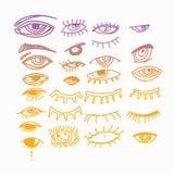 Ögon och samling för vektor för ögonsymbolsuppsättning Se och visionsymboler Isolerad vektorillustration för affischen, tatuering vektor illustrationer