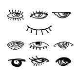 Ögon och samling för vektor för ögonsymbolsuppsättning Se och visionsymboler Isolerad vektorillustration för affischen, tatuering royaltyfri illustrationer