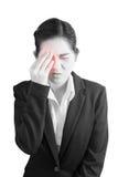 Ögon smärtar och ögonbelastning i en kvinna som isoleras på vit bakgrund Snabb bana på vit bakgrund royaltyfri fotografi