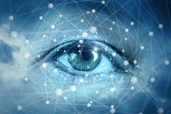 Ögon som ser nätverksanslutningar royaltyfria foton
