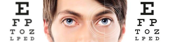 Ögon stänger sig upp på visuell provdiagram, synförmåga och ögonundersökning royaltyfri fotografi