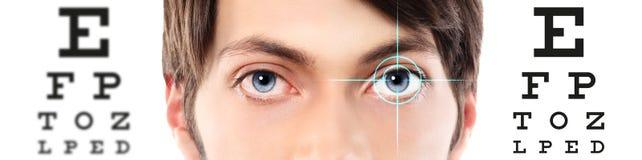 Ögon stänger sig upp på visuell provdiagram, synförmåga och ögonundersökning royaltyfria bilder