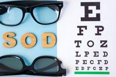 Ögon- tabell för att testa visuell skärpa, par av glasögon och GRÄSMARKinskriften i latinsk oculus dexter och illavarslande menan arkivbilder