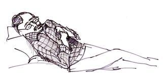 Ögonblicken skissar, man royaltyfri illustrationer