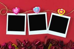 Ögonblickliga fotoramar för valentin tema Royaltyfri Bild