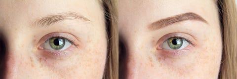 Ögonbryn för after arkivfoton