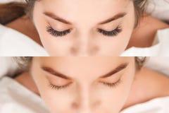 Ögonfransförlängning Jämförelsen av kvinnlign synar före och efter royaltyfria foton