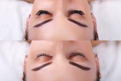 Ögonfransförlängning Jämförelsen av kvinnlign synar före och efter fotografering för bildbyråer