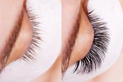 Ögonfransförlängningstillvägagångssätt Jämförelsen av kvinnlign synar före och efter royaltyfria foton